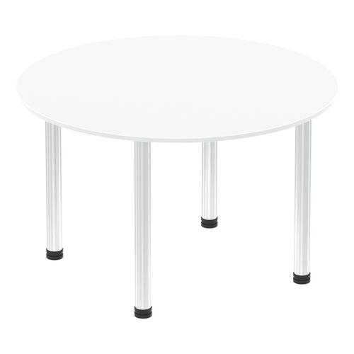 Impulse 1200mm Round Table White Top Chrome Post Leg