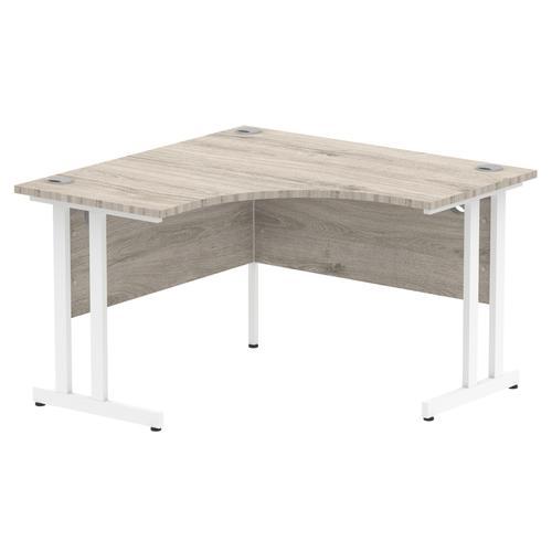 Impulse 1200 Corner Desk White Cantilever Leg Desk Grey Oak