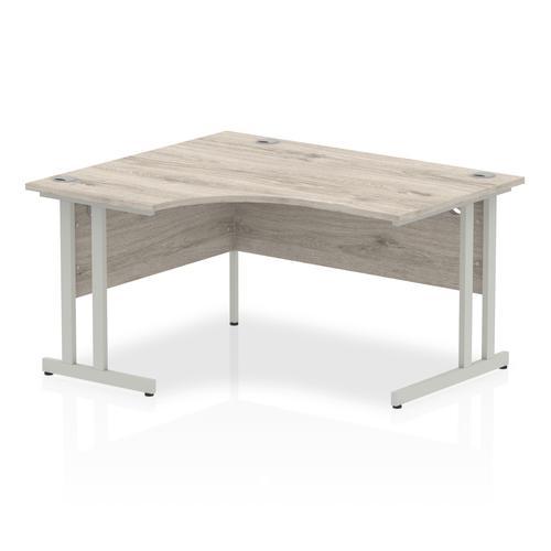 Impulse 1400mm Left Crescent Desk Grey Oak Top Silver Cantilever Leg I003819