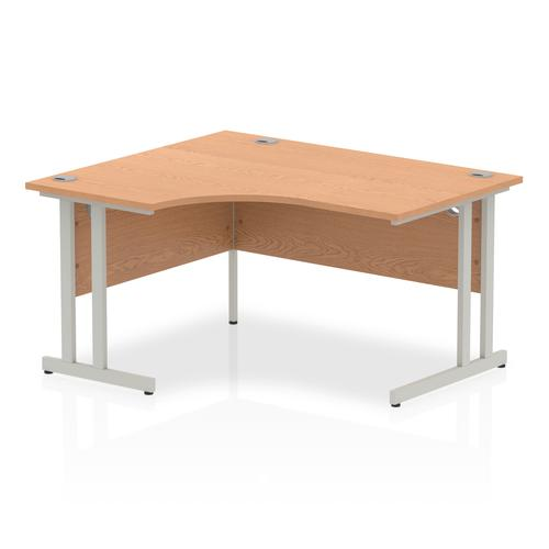 Impulse 1400mm Left Crescent Desk Oak Top Silver Cantilever Leg