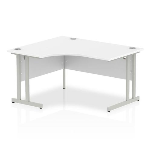 Impulse 1400mm Left Crescent Desk White Top Silver Cantilever Leg I003822