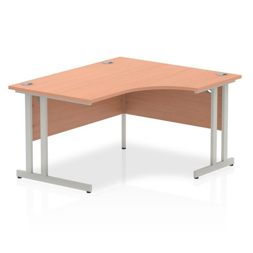Impulse 1400mm Right Crescent Desk Beech Top Silver Cantilever Leg I003824
