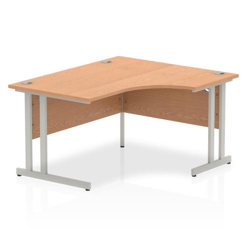 Impulse 1400mm Right Crescent Desk Oak Top Silver Cantilever Leg I003827