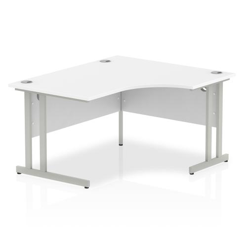 Impulse 1400mm Right Crescent Desk White Top Silver Cantilever Leg