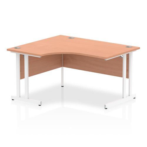 Impulse 1400mm Left Crescent Desk Beech Top White Cantilever Leg I003830