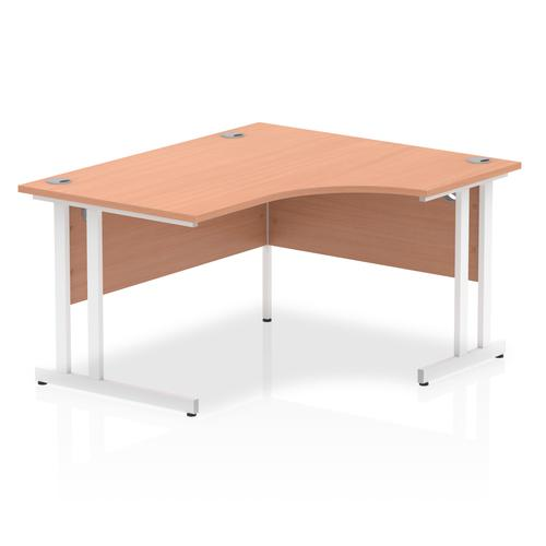 Impulse 1400mm Right Crescent Desk Beech Top White Cantilever Leg