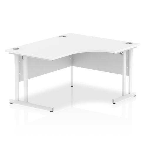 Impulse 1400mm Right Crescent Desk White Top White Cantilever Leg I003840