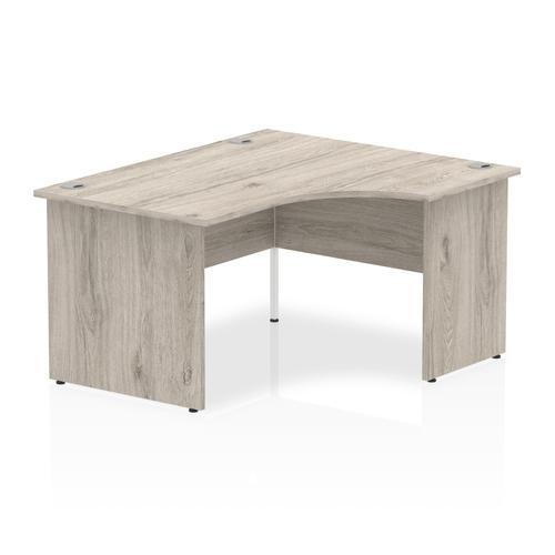 Impulse 1400mm Right Crescent Desk Grey Oak Top Panel End Leg I003873