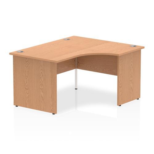 Impulse 1400mm Right Crescent Desk Oak Top Panel End Leg
