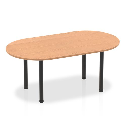 Impulse 1800mm Boardroom Table Oak Top Black Post Leg