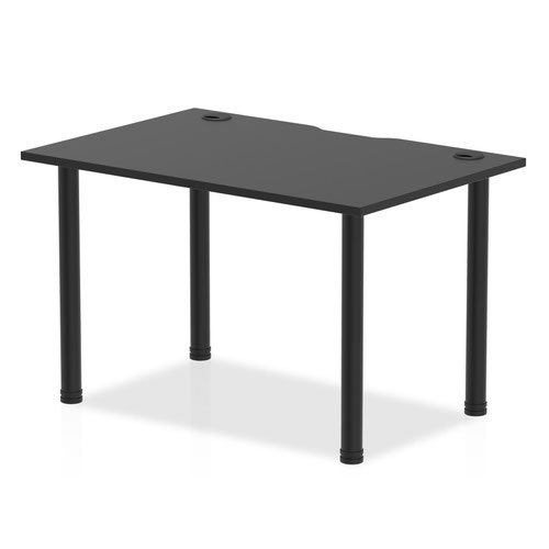Impulse Black Series 1200 x 800mm Straight Table Black Top with Cable Ports Black Leg