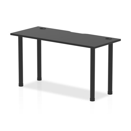 Impulse Black Series 1400 x 600mm Straight Table Black Top with Cable Ports Black Leg
