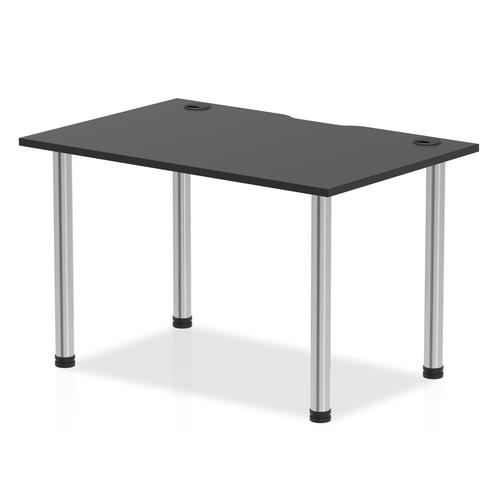 Impulse Black Series 1200 x 800mm Straight Table Black Top with Cable Ports Chrome Leg