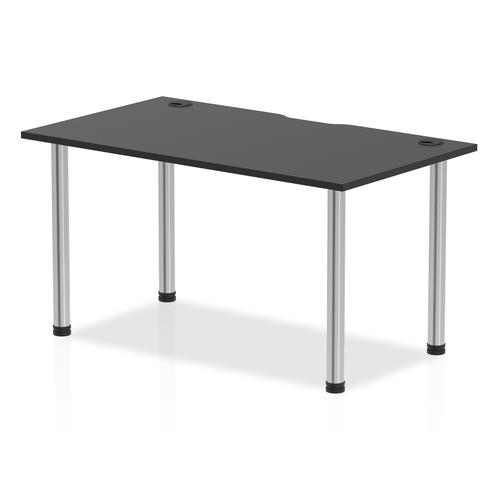 Impulse Black Series 1400 x 800mm Straight Table Black Top with Cable Ports Chrome Leg