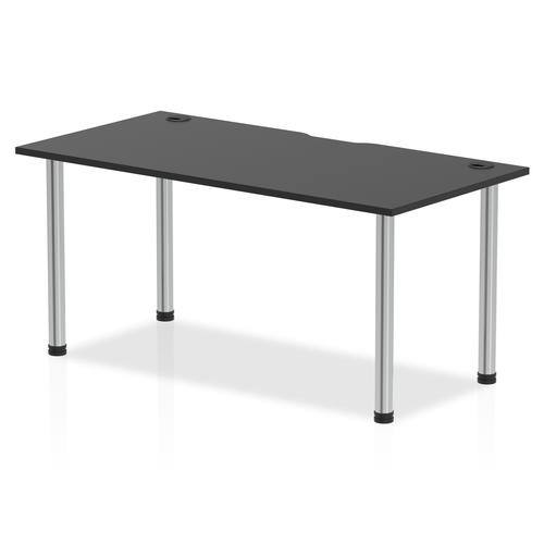 Impulse Black Series 1600 x 800mm Straight Table Black Top with Cable Ports Chrome Leg