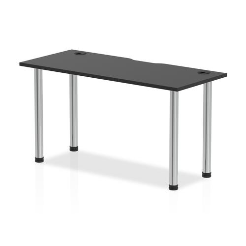 Impulse Black Series 1400 x 600mm Straight Table Black Top with Cable Ports Chrome Leg
