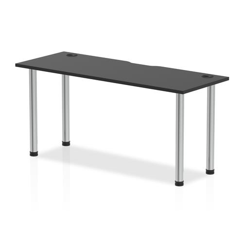 Impulse Black Series 1600 x 600mm Straight Table Black Top with Cable Ports Chrome Leg