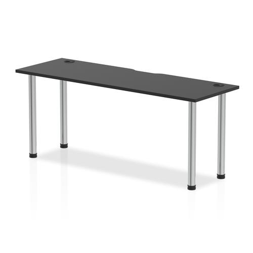 Impulse Black Series 1800 x 600mm Straight Table Black Top with Cable Ports Chrome Leg