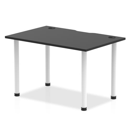 Impulse Black Series 1200 x 800mm Straight Table Black Top with Cable Ports White Leg