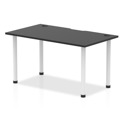 Impulse Black Series 1400 x 800mm Straight Table Black Top with Cable Ports White Leg