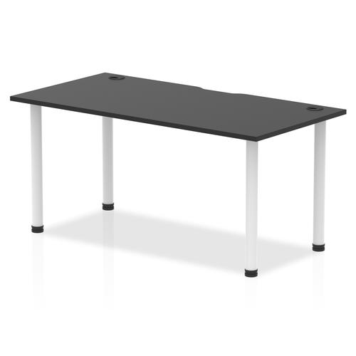 Impulse Black Series 1600 x 800mm Straight Table Black Top with Cable Ports White Leg