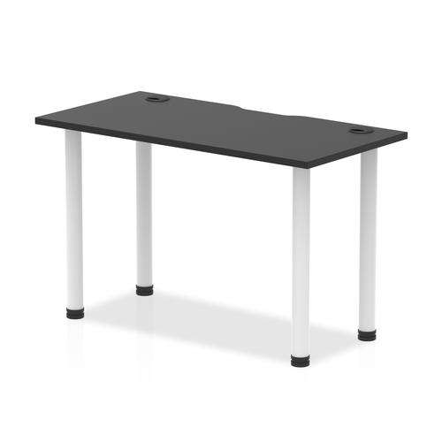 Impulse Black Series 1200 x 600mm Straight Table Black Top with Cable Ports White Leg