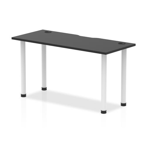 Impulse Black Series 1400 x 600mm Straight Table Black Top with Cable Ports White Leg
