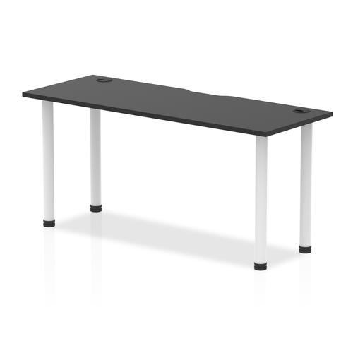 Impulse Black Series 1600 x 600mm Straight Table Black Top with Cable Ports White Leg