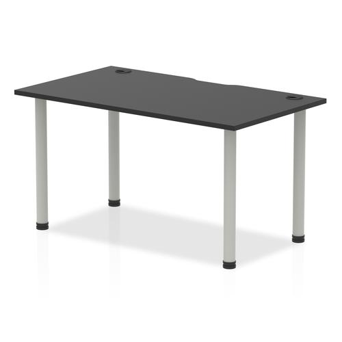 Impulse Black Series 1400 x 800mm Straight Table Black Top with Cable Ports Silver Leg