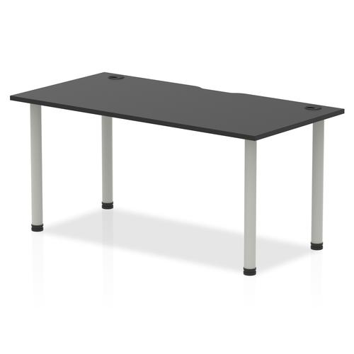 Impulse Black Series 1600 x 800mm Straight Table Black Top with Cable Ports Silver Leg