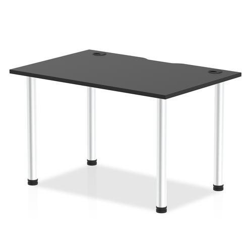 Impulse Black Series 1200 x 800mm Straight Table Black Top with Cable Ports Aluminium Leg
