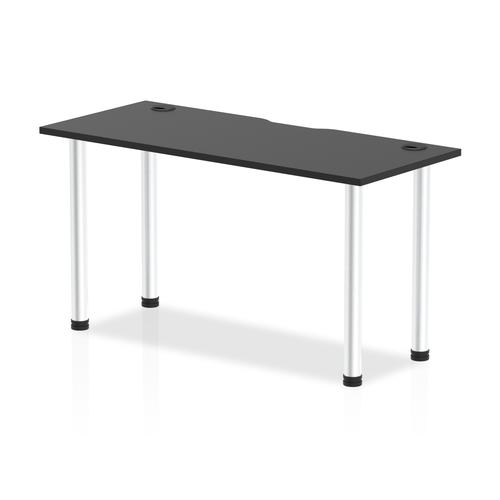 Impulse Black Series 1400 x 600mm Straight Table Black Top with Cable Ports Aluminium Leg