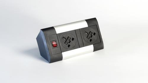 Impulse Desktop Module 2 x UK Sockets 1 x Neon Switch 1 x 500mm Lead to 3 Pole Connector