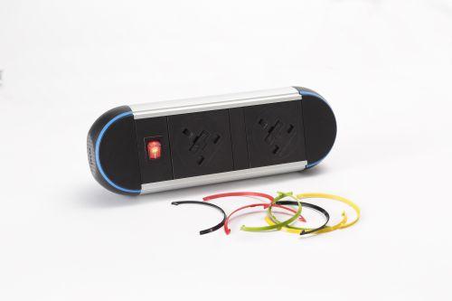 Impulse Desktop Module 2 x UK Sockets (3.15A) 1 x Neon Switch 1 x 500mm Lead to 3 Pole Connector
