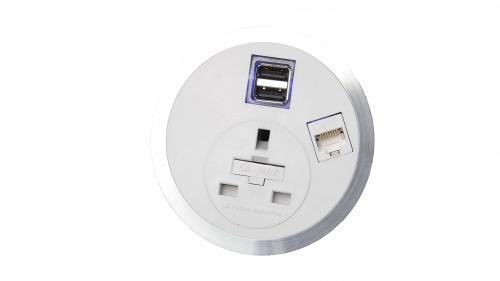 Impulse Port-E 1 x UK Socket 1 x Smart Charge 1 x CAT5E Data