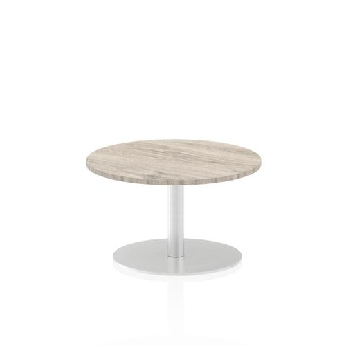 Italia Poseur Table Round 600 Top 475 High Grey Oak