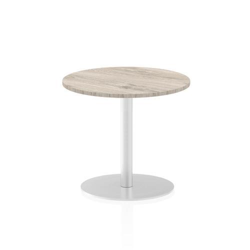 Italia Poseur Table Round 600 Top 725 High Grey Oak