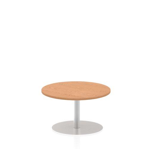 Italia 800mm Poseur Round Table Oak Top 475mm High Leg