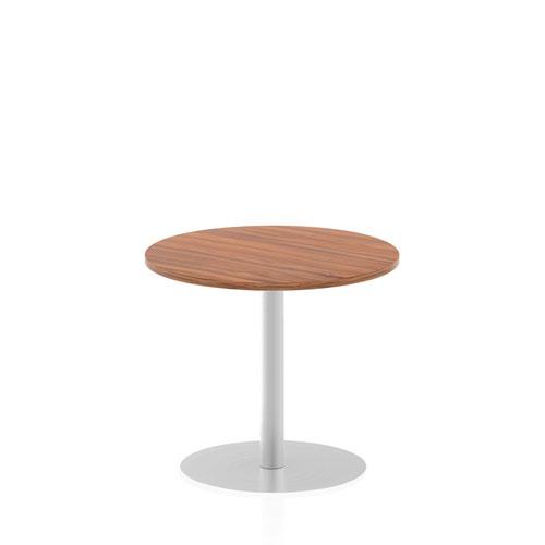 Italia 800mm Poseur Round Table Walnut Top 725mm High Leg