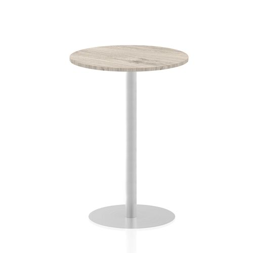Italia 800mm Poseur Round Table Grey Oak Top 1145mm High Leg