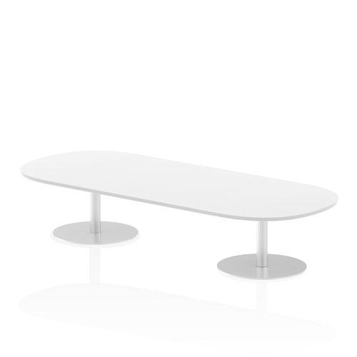 Italia 2400mm Poseur Boardroom Table White Top 475mm High Leg
