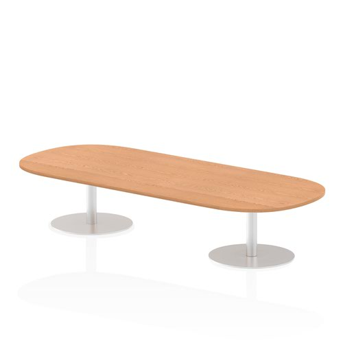 Italia 2400mm Poseur Boardroom Table Oak Top 475mm High Leg
