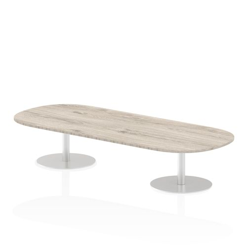 Italia 2400mm Poseur Boardroom Table Grey Oak Top 475mm High Leg