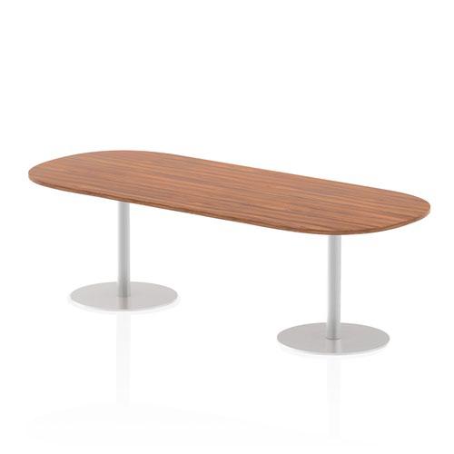 Italia 2400mm Poseur Boardroom Table Walnut Top 725mm High Leg