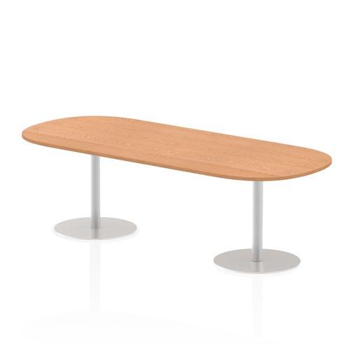 Italia 2400mm Poseur Boardroom Table Oak Top 725mm High Leg
