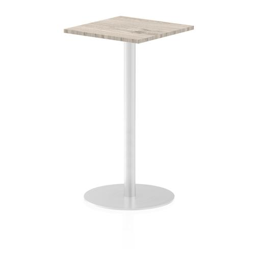 Italia Poseur Table Square 600/600 Top 1145 High Grey Oak