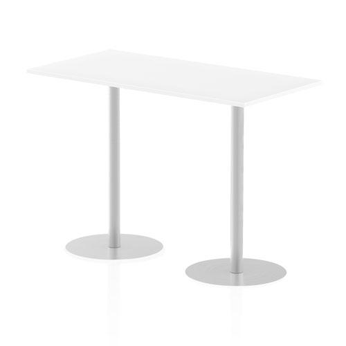 Italia 1600 x 800mm Poseur Rectangular Table White Top 1145mm High Leg