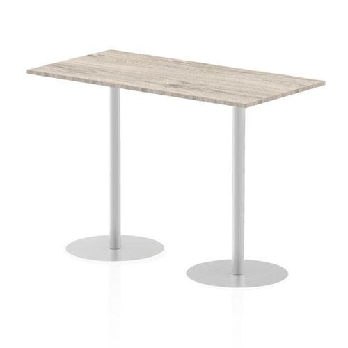 Italia 1600 x 800mm Poseur Rectangular Table Grey Oak Top 1145mm High Leg