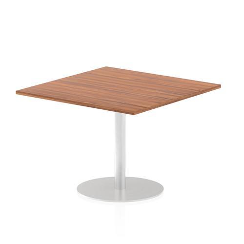 Italia Poseur Table Square 1000/1000 Top 725 High Walnut