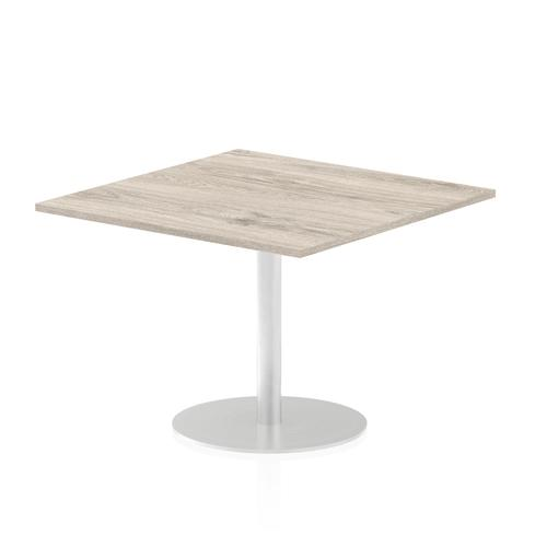 Italia Poseur Table Square 1000/1000 Top 725 High Grey Oak